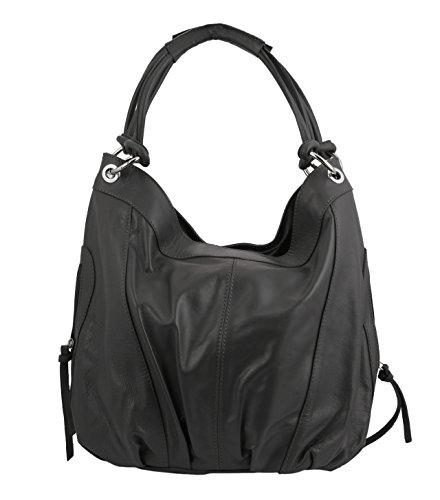 """Slingbag """"Elena III XL Shopper/borsa a spalla in vera pelle/scelta di colori, Grau (grigio) - Elena Grau"""