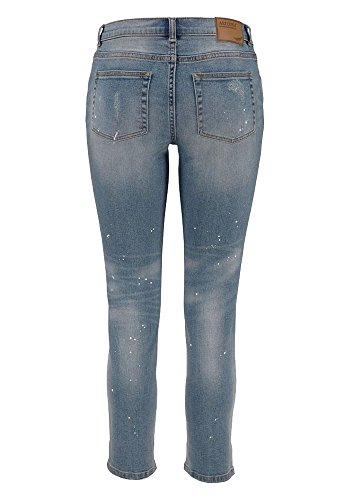 Arizona Damen Jeans Jeanshose 7/8 Slim fit Farbflecken Blau