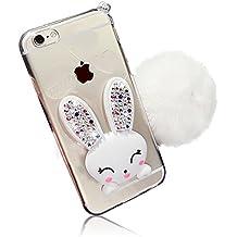 iPhone 5 iPhone 5S Funda , Sunroyal iPhone SE Carcasa TPU Transparente Silicona Suave Gel [Resistente a Arañazos] Ultra Slim Case Cover , Diamante Orejas de Conejo Con Función Soporte , Acollador + Bola de Pelo Lanudo de las Borlas para iPhone 5 5S SE - Blanco Conejo