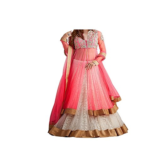 Purva Art Girls Pink Georgette and Net Lehenga Choli For Kids Wear...