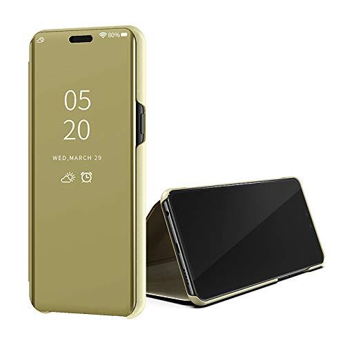 SWMGO® Espejo Enchapado Flip Funda para Xiaomi Redmi 5A/Xiaomi Redmi Go (Oro)
