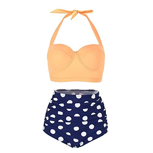 FeelinGirl 50er Damen Frauen Badeanzug Bademode Rockabilly Bikini Set-Hohe Taillen-Neckholder-Bauchweg, Gr.-3XL(EU 42), Gelb