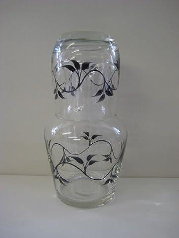 Hand Painted Glassware Black Leaves Design Bedside Carafe/Desk