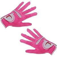 Sharplace 1 Par de Guantes de Golf Elástico de Mujeres de Tela Super Fibra con Alta Elasticidad Color de Rosa Proteger Mano - Metro
