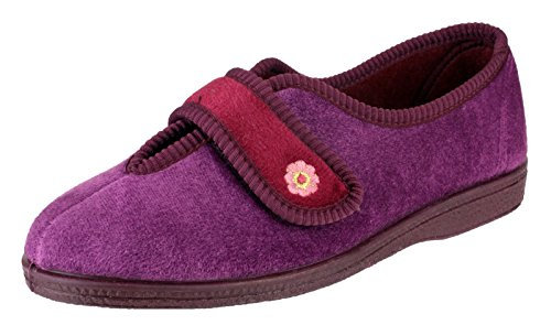 Mirak Touch Fastened Textile Lined Ladies Slippers - Beige - Size 3 4 5 6 7 8 Wine