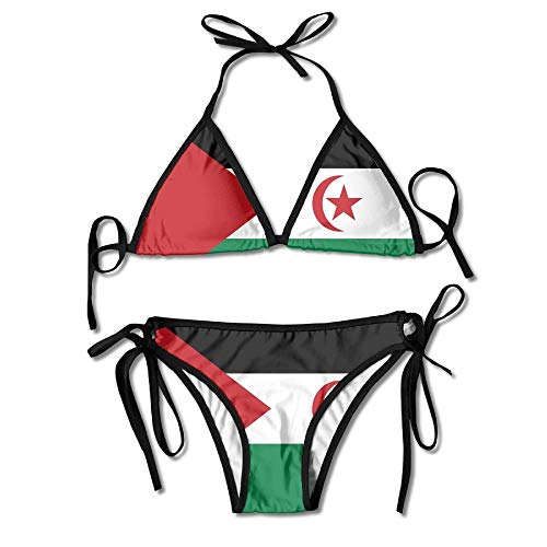 Rghkjlp flag of western sahara sexy boxing bikini women halterneck top and set swimsuits beach swimming