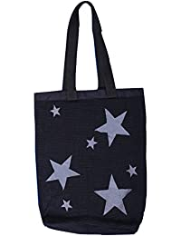 Tote Beach And Yoga Bag In Color Black With Grey Star Shaped Patches, Fabric Material Knitted Carry Bag (Length...