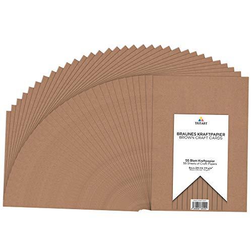 Tritart - Kraftpapier A4 170g /m² I Natur Karton zum Bedrucken 55 Blatt I stabiles kreativ Tonpapier zum Basteln und Malen I dickes Druckerpapier I DIY Tonzeichenpapier I braunes Papier Vintage