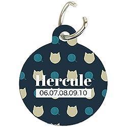 CADEAUX.COM Médaille pour Chat Personnalisable - Pendentif pour Collier à Personnaliser avec [PRENOM] et [Telephone] - Jolie médaille d'identité pour Votre Chat (Noir)