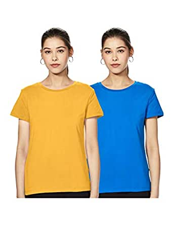 Amazon Brand - Symbol Women's plain regular fit half sleeve cotton T-Shirt