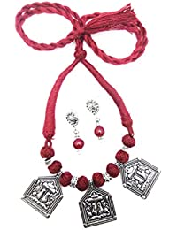 Oxidised German Silver/fashion/Antique Jewellery Maroon Necklace Set For Women And Girls