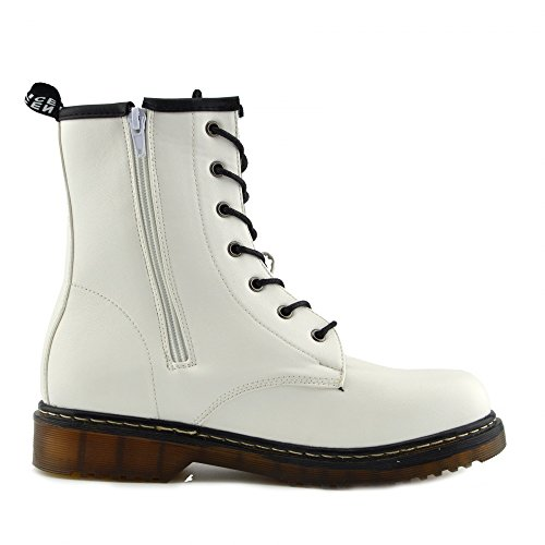 Kick Footwear - Ladies ankle retro combat boot womens lace funky vintage goth ankle boot Bianco opaco