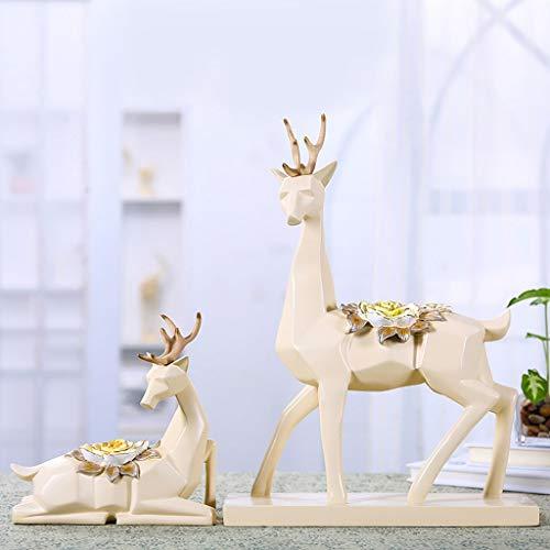 YGPING Kreative Hirsche Umweltfreundliche Harz Handwerk Dekoration Wohnzimmer Tv-Schrank Weinschrank Dekoration 2 Sätze (große L28xB9xH42cm Kleine L14xB7xH20cm) Skulptur -