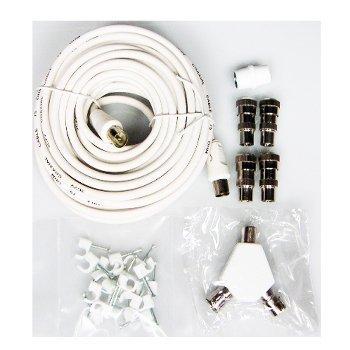 Dencon 10M antenna TV bianco cavo coassiale kit estensione