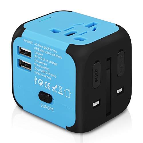 International Travel Power Adapter (Goldfox® Universal Welt Reiseadapter Mit 2 USB Ladegerät Reisestecker Adapter World Travel Adapter für Weltweit 150 Ländern mit EU/UK/US/AU Stecker LED-Betriebsanzeige (Blau))