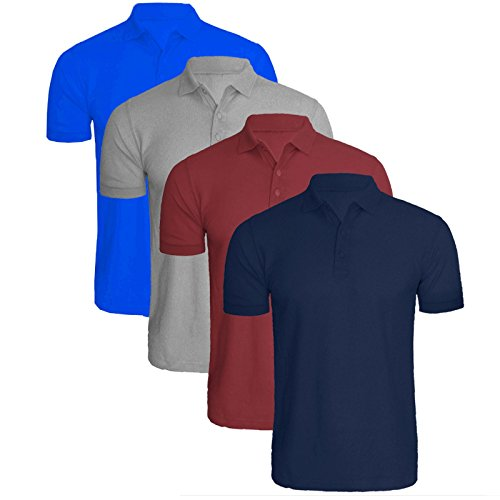 2k17Apr MENS SHORT SLEEVE COLLAR CASUAL SMART POLO TOP COTTON SUMMER T-SHIRT TEES[Pack C Nvy/Wine/Grey/Ryl ,M]