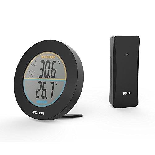 HXUJ Drahtloses Thermometer Max/Min Aufzeichnungen Trendindikator Monitor LCD-Display Digitaler Wandtisch Temperaturmesser Sensor schwarz -