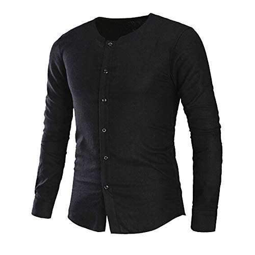 Oliviavan,Mode für Männer Slim Langarm-Shirt Knopf Solid Color Shirt Bluse Top Herren Männer Winter DüNnen Warme Sweatshirt Hoodie Kapuzenpullover Basic Tops Business Hemd