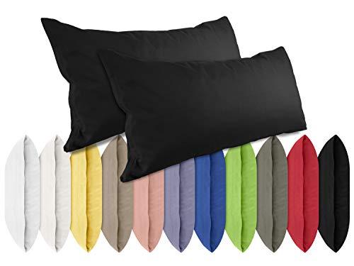 npluseins Renforcé-Kissenbezüge im Doppelpack - 100% Baumwolle - schlicht und edel im Design, in 11 Uni-Farben, 40 x 80 cm, schwarz -