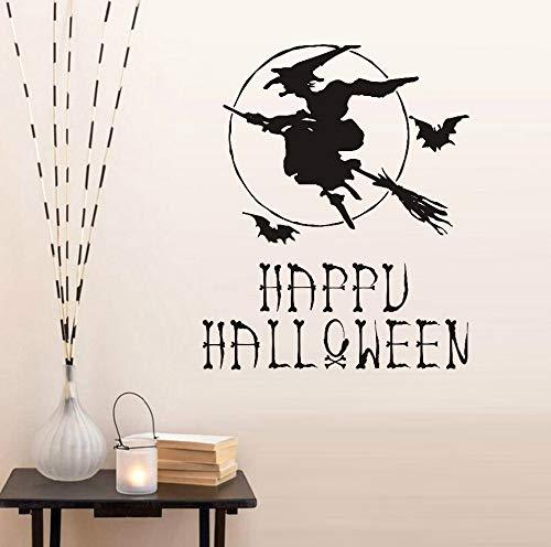 Wandaufkleber Happy Halloween Hexe Besen Fledermaus Tapete Poster Wohnkultur Vinyl Kunstwand Wohnzimmer Schlafzimmer Halloween Dekoration 59 * 48 cm
