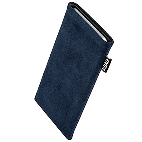 fitBAG Classic Blue custom tailored sleeve for E-Ten Glofiish M700. Genuine Alcantara pouch with integrated MicroFibre lining for display cleaning