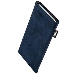 fitBAG Classic Blau Handytasche Tasche aus original Alcantara mit Microfaserinnenfutter für Samsung Galaxy S5 / S5 Neo | Schlanke Hülle als edles Zubehör mit praktischer Reinigungsfunktion | Rundumschutz | Made in Germany