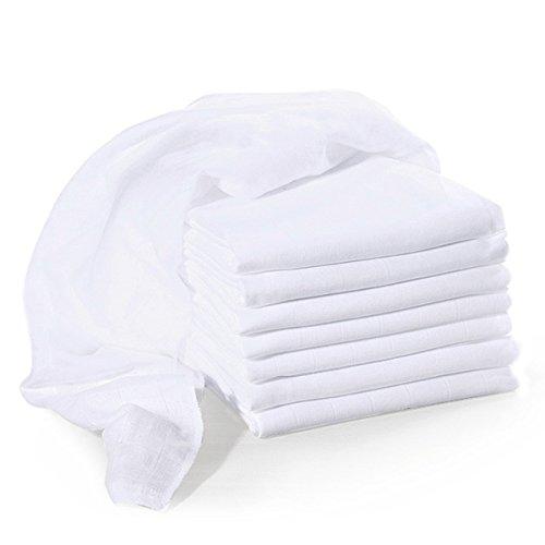 Bornino Mullwindeln (8er-Pack) - Baby Mulltücher 80x80 cm - Baumwollwindeln weiß