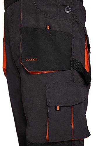 Latzhose Arbeitshose CLASSIC Handwerker KFZ Gärtner Mechaniker 270g/m2 (46, graphit/orange) - 9