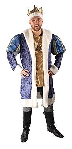 König Kostüm für Herren | Größe: 54-56 | Umhang und Krone für die königliche Kostümierung | Erwachsenen-Verkleidung für Fasching & Karneval | King-Outfit ideal für Motto-Partys