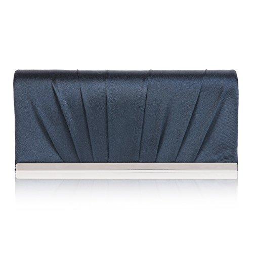 Damara Damen Faltenwurf Glamourös Mittelgroß Schultertasche Handtasche,Schwarzblau (Satin-damen-medium Handtasche)