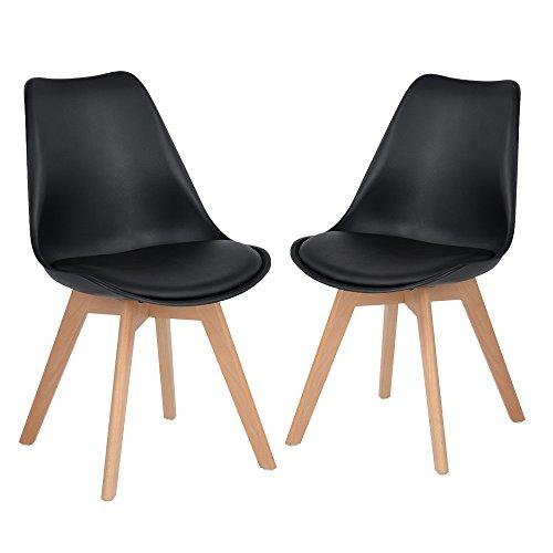 H.J WeDoo Lot de 2 Chaise de Style DSW inspire par Eames chaises avec assise rembourrée avec pieds en bois de hêtre massif - Noir