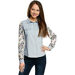 oodji Ultra Mujer Camisa Vaquera Combinada, Azul, ES 42 / L