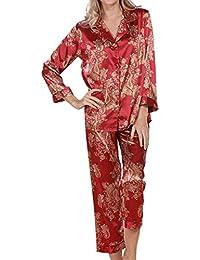 68f533724 Mujer Ropa De Noche Elegante Manga Larga V-Cuello Un Solo Pecho Estampadas  Batas Primavera Moda Otoño Conjunto De Pijama Satín…