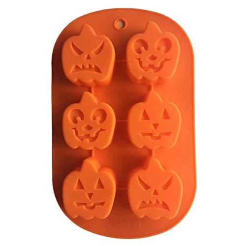 Landingstar 2019 Neue 3D Silikon Form DIY Kuchen Form Fondant Schokolade Backform Halloween Kürbis Orange (6 Kürbis) für Zuhause Dekoration - Orange