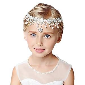 ZCM Mädchen Headwear, Mädchen Haarschmuck Anhänger Blumenmädchen Kleid Crown Halskette Zubehör