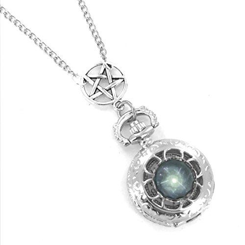 Gotische Pentagramm Taschenuhr Halskette Galaxy vorn