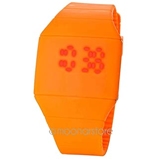 GEZICHTA Fashion Sports Watches LED Touch Screen Silicone Digital Display Ultra-Thin Rubber Wristwatch For Unisex Adult Kids(orange)
