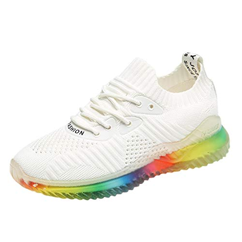 KonJin Women's Running Shoes Fashion Trend Rainbow Jelly Soles Sneakers Outdoor Woven Breathable Casual Shoes