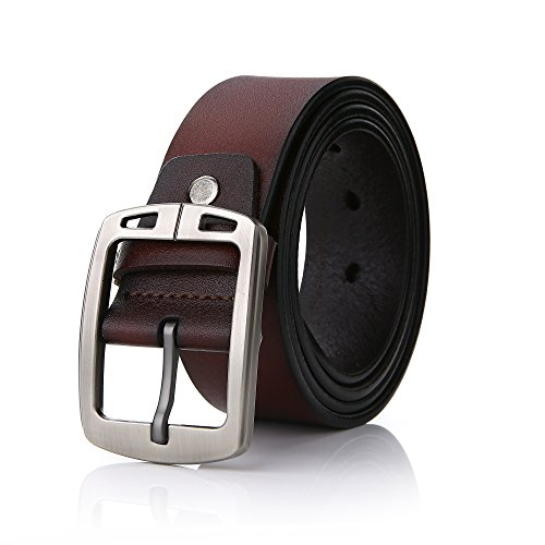 FYDRISE Herren Gürtel Leder Herrengürtel Jeansgürtel Gürtel Metall Manner Business Gürtel in Braun 115cm