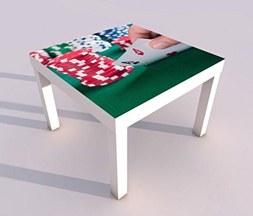 Design - Tisch mit UV Druck 55x55cm Poker Spiel Casino Glück Ass Spielkarte Spieltisch Lack Tische Bild Bilder Kinderzimmer Möbel 18A252, Tisch 1:55x55cm