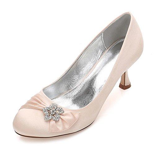 Zxstz donne pietre strass décolleté tacco medio scarpe da festa in raso per feste, scarpe da lavoro, pompe, champagne, 37