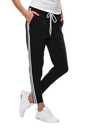 Hachiro Damen Hose Freizeithose 7/8-Hose Sportswear Style (M, Black/Style 2)