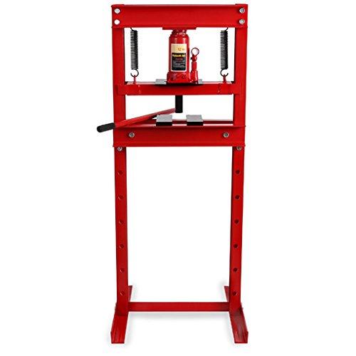 EBERTH 12T hydraulische Werkstattpresse (2 Auflagebacken, Arbeitshöhe 635 mm 8-fach verstellbar, Arbeitsbreite 425 mm)