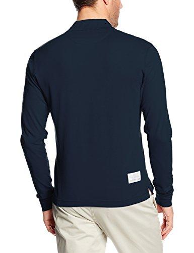 La Martina Herren Poloshirt Man Polo L/S Piquet Stretch Blau (Navy 07017)