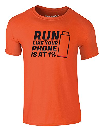 Brand88 - Run Like Your Phone Is At 1%, Erwachsene Gedrucktes T-Shirt Orange/Schwarz