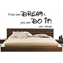 "Adhesivo de pared con cita ""If you can dream it, you can do it!"" de Walt Disney, bricolaje para niños, vinilo, negro, 90x40cm"