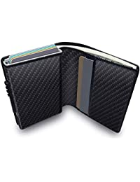KOOGOO Wallet with Money Clip RFID Blocking Wallet|Minimalist Genuine Leather Mens Card Wallet | Credit Card Holder| Ultra Thin Automatic Pop-up Card Case