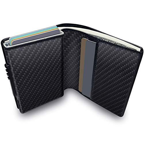 KOOGOO Leder Geldbeutel Männer Premium Schlanker Portemonnaie Herren Kreditkartenetui RFID | Mit Geschenkbox | Pop up Funktion (Carbon Black)