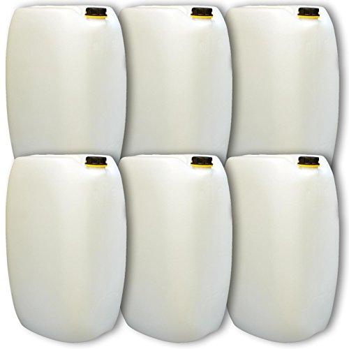 Lot de 6 bidons – Jerrican 60 L, naturel, HDPE ouverture DIN 61 qualité alimentaire (6x22249)