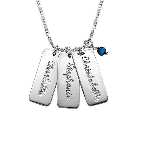 Tag Halskette mit Geburtsperle - Personalisiert mit Ihrem eigenen Namen! (Personalisierte Dog Tag Halskette)